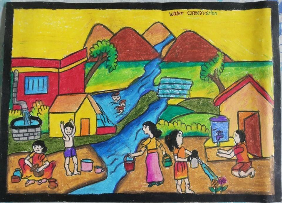 نقاشی در حیاط خانه نقاشی در مورد صرفه جویی در مصرف آب